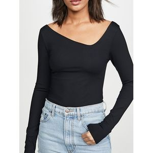 Free People Abbie Long Sleeve Thong Body Suit